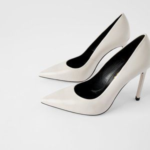 ZARA HIGH HEELED LEATHER SHOES OFF WHITE SIZE 5